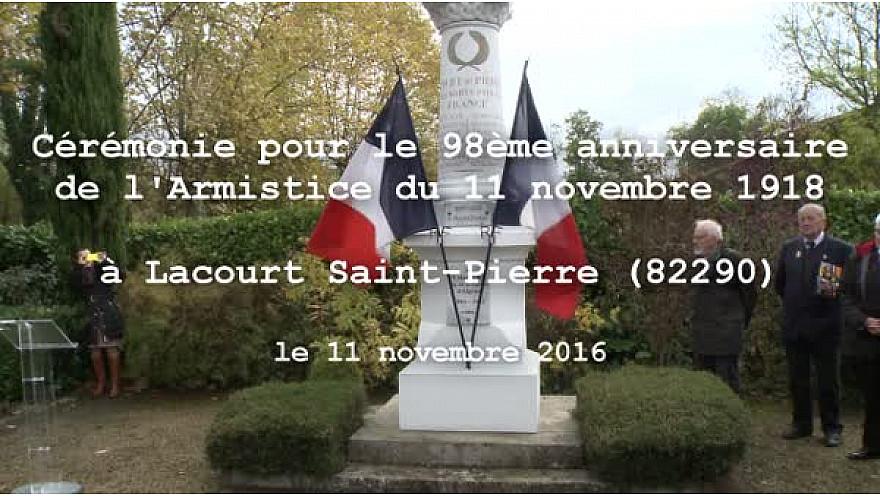 Cérémonie du 98ème anniversaire de l'Armistice du 11 novembre 1918 à Lacourt Saint-Pierre (82)
